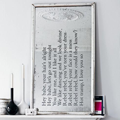 Bowie lyrics mirror. Need this.Decor, Ideas, Quote, Songs, Old Mirrors, David Bowie, Lyrics, Diy Mirrors, Mirrors Mirrors