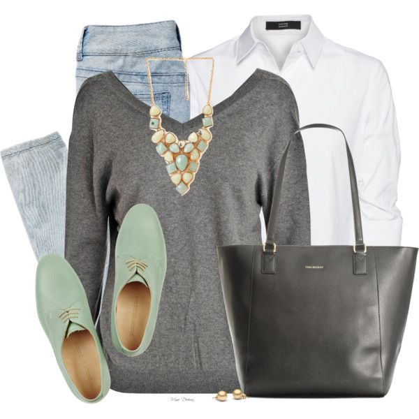 V-Neck Sweater and a Collared Blouse