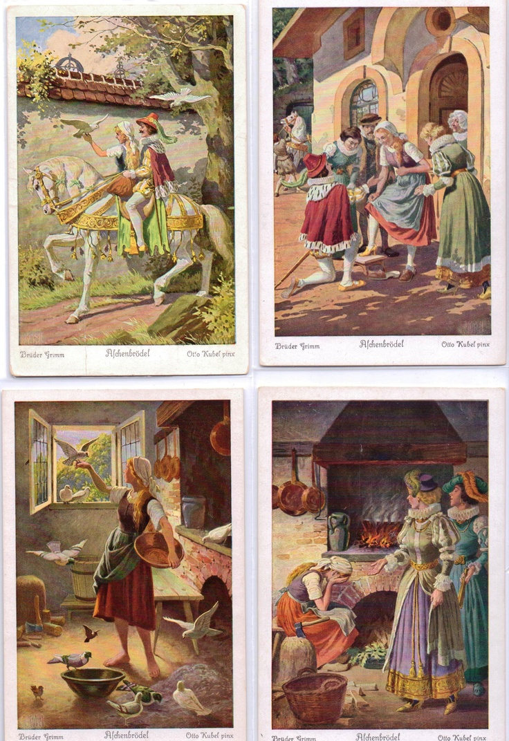 1910s - - MADE IN GERMANY -  (Aschenbrödel) CINDERELLA - Brüder Grimm - Otto Kubel pinx; early 1900's set of 6 UVACHROM postcards, this shows FOUR copies of series # 154; all of which are 'MINT'(NOT post-ally used); #s 1, 2 , 5 & 6 (3874, 3875, 3878 & 3879)