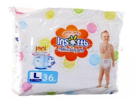 Insoftb Трусики-подгузники Premium Ultra-soft L (9-14 кг) 36 шт.  — 900р.   Трусики-подгузники марки Insoftb разработаны с учетом мельчайших деталей для создания максимально комфортных условий для малыша. Нежнейшая хлопковая внутренняя поверхность мягко прилегает к телу, не натирая и не вызывая раздражения на чувствительной коже ребенка. Основу подгузника составляют суперабсорбенты, которые полностью впитывают влагу и моментально превращают ее в гель, поэтому попка крохи останется сухой при…