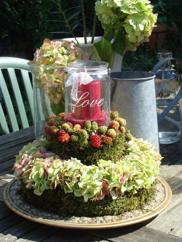 hortensia taart met mos en bramen