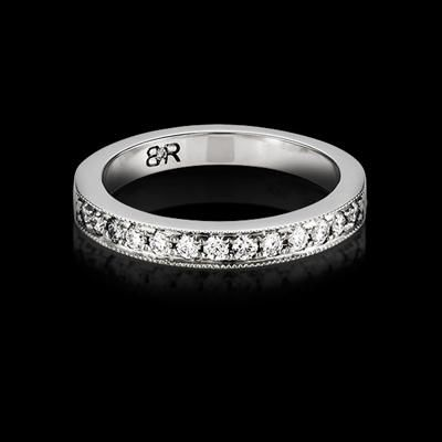 FOR HER - Provectus diamond wedding band with vintage inspired milgrained edges and 24 full cut diamonds (total approximate diamond weight of 0.22ct). Available in 18K white gold or platinum. Designed to match perfectly with the Provectus engagement ring.