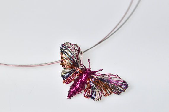 Butterfly Pendant..Handmade butterfly.Wire wrapped art sculpture jewelry.Sculpture jewelry.Unique butterfly.Prototype jewelry.