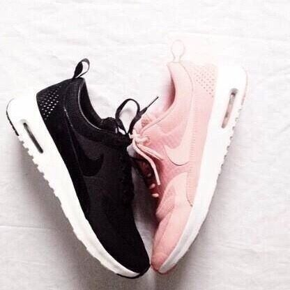 black and pink tennis shoes. I' ll take both