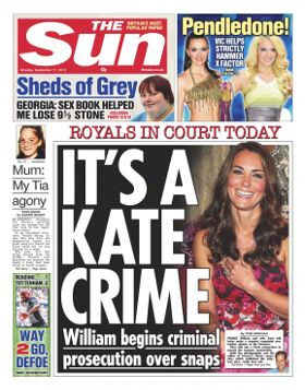 The Sun newspaper front page
