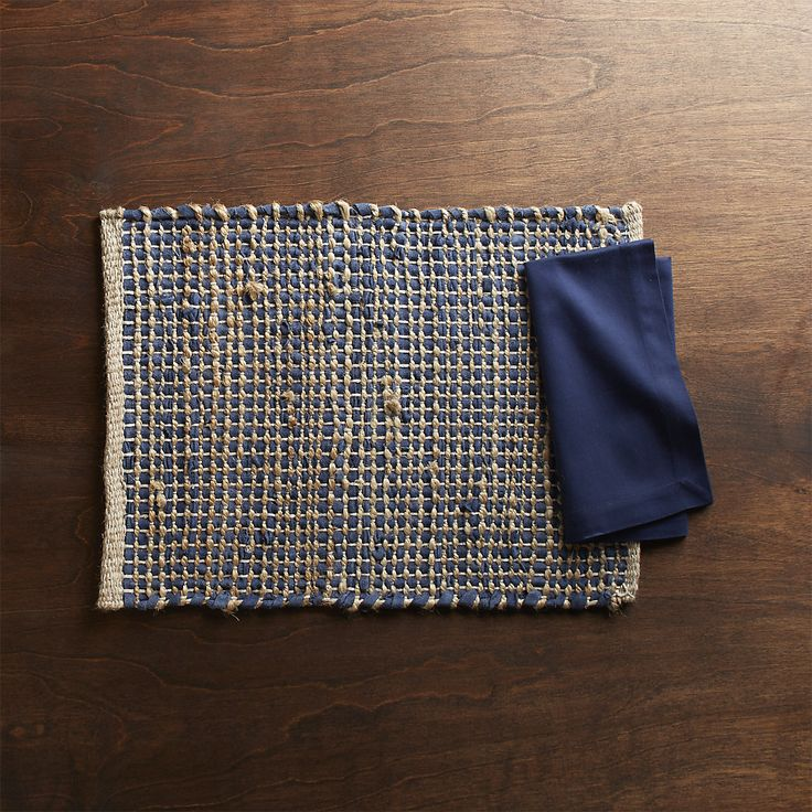 Free Shipping.  Shop Matteo Blue Placemat.  Artisans weave together blue recycled leather strips and rustic jute and cotton yarn to create a chunky placemat that's rustic and eclectic.