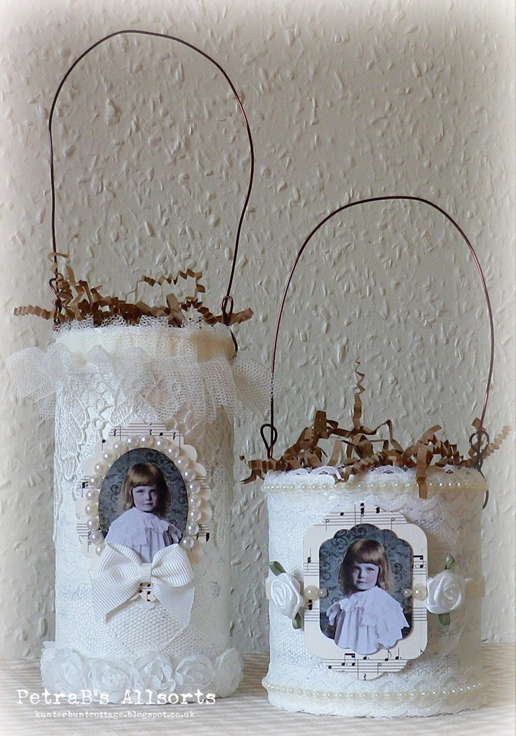 Lacey Tins. recycled tins - stamp: 7Gypsies - lace, pearls, musical note paper, wire - digital imsges: PaperWhimsy
