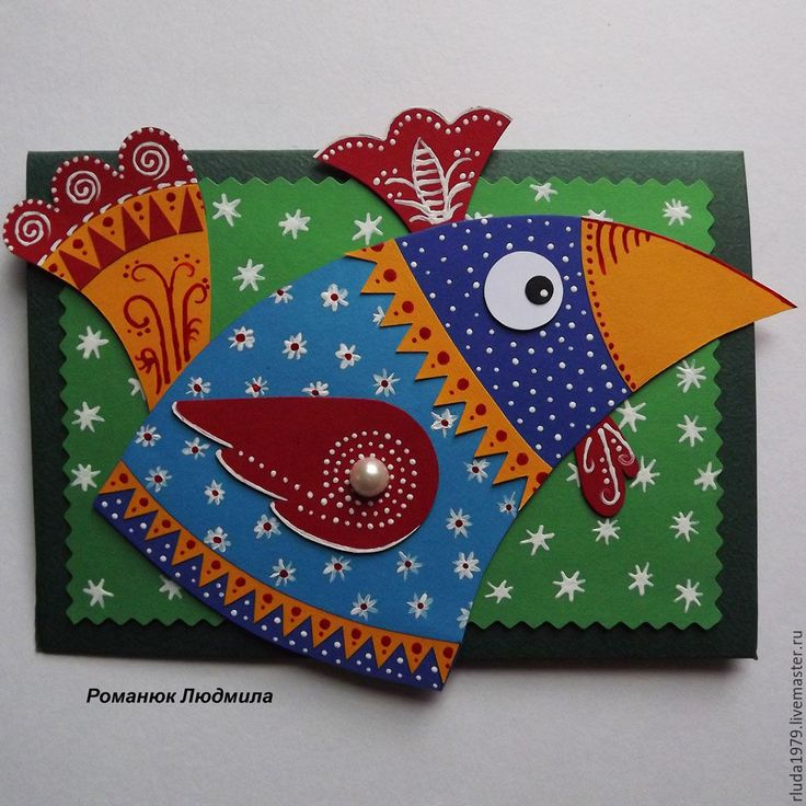 """Купить Новогодняя открытка """"Кукареку"""" - Открытка ручной работы, романюк людмила, открытка нижний новгород"""