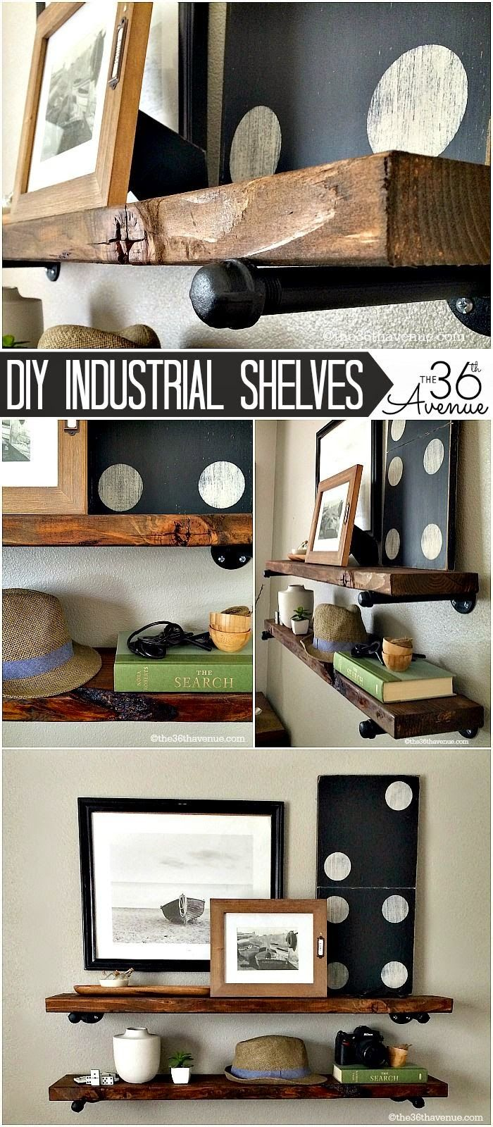 Best DIY Projects: DIY - Home Decor : These DIY Industrial Shelving is super easy to make and a great addition to any room!