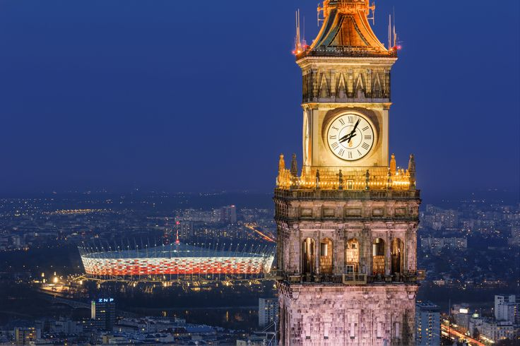 Warsaw. Palace of Science and Culture. National Stadium #Warsaw #Poland #skyline #history #PKiN