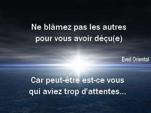 Ne blâmez pas les autres pour vous avoir déçu(e), peut-être est-ce vous qui aviez trop d'attentes…