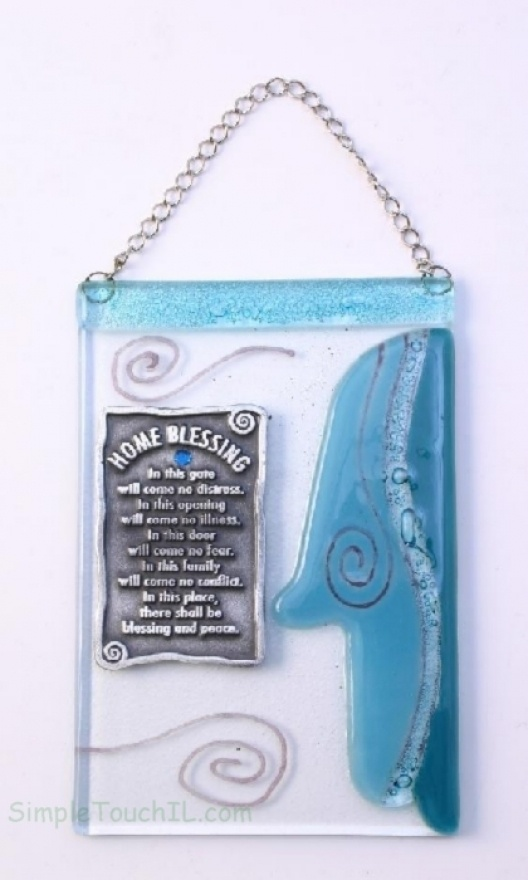 Fused glass blessing for a baby boy