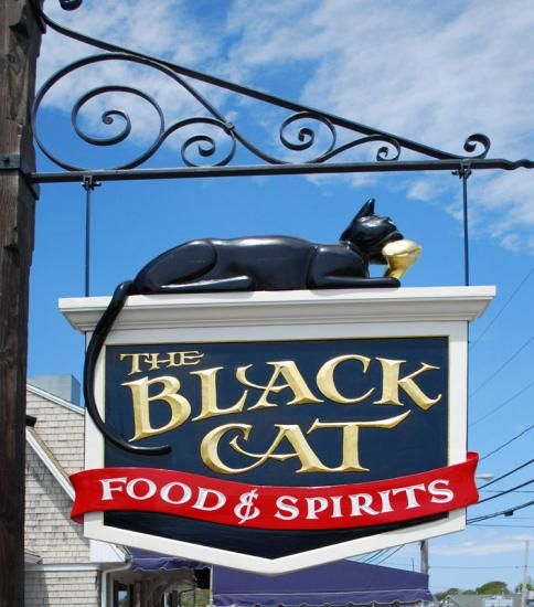 The Black Cat Tavern-This casual waterfront restaurant is located right on the docks in Hyannis Harbor across from the HyLine ferries. Hyannis, Cape Cod.