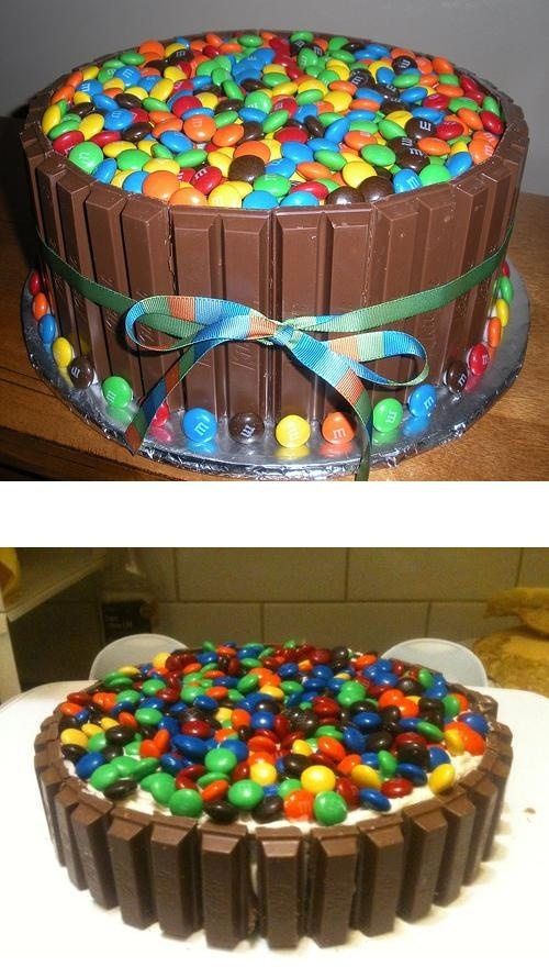 The Candy Cake... Kit-kats and M&Ms.  Surround a simple 2 layer round cake with kit-kats and cover top with M&Ms