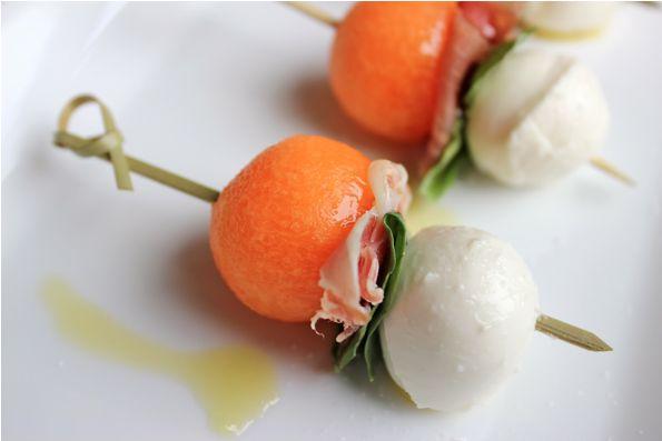 Cantaloupe Mozzarella Prosciutto Skewers - Serving Seconds
