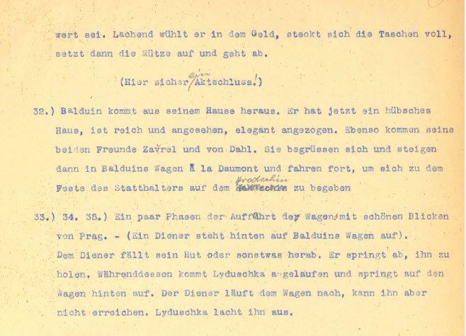 Auszug aus dem Original-Exposé DER STUDENT VON PRAG von Hanns Heinz Ewers!
