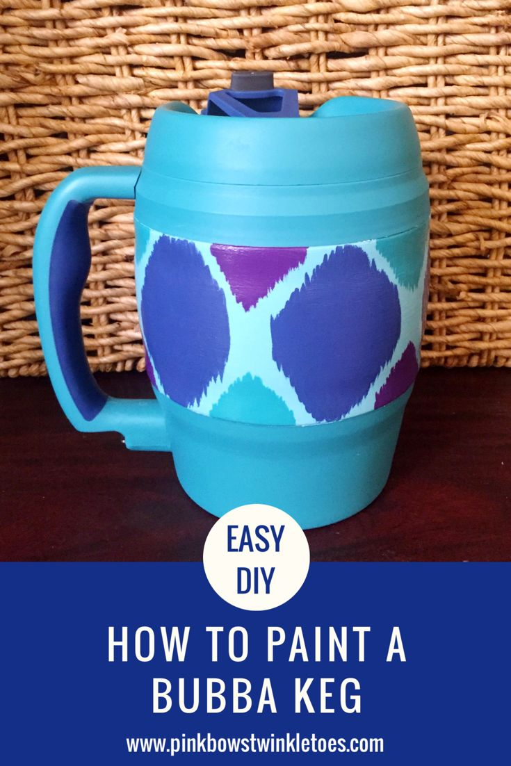 Easy DIY Hand Painted Bubba Keg - How to paint a Bubba Ket - How to paint ikat with acrylic paint - Bubba Keg painting tutorial
