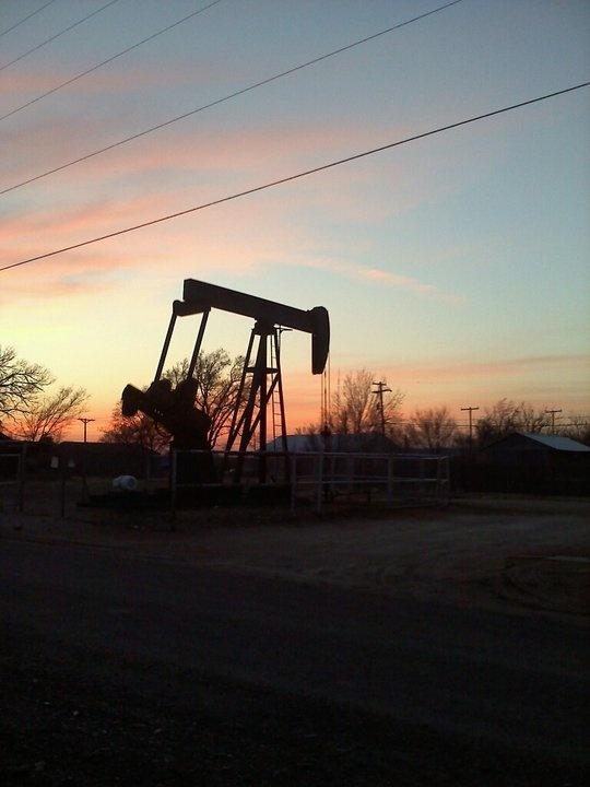 Texas Oil Field Sunset. 2011