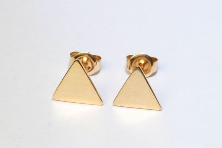 9ct solid yellow gold triangle earrings handmade by Brown + Brown Jewelry.