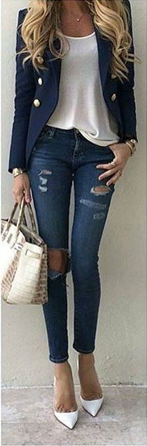 #fall #outfits ·  Blue Blazer // Ripped Jeans // White Pumps // Leather Tote Bag // White Top