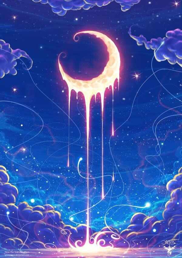 moon splash shimmer illustration drip glow shine