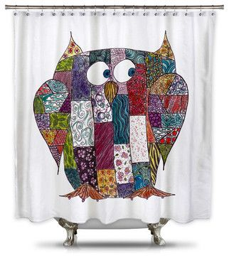 Catherine Holcombe Log Cabin Owl Fabric Shower Curtain, Standard Size eclectic-shower-curtains