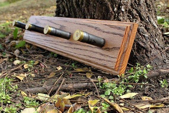 Solid Oak Shotgun Shell Coat Rack by WoodenBliss on Etsy, $25.00