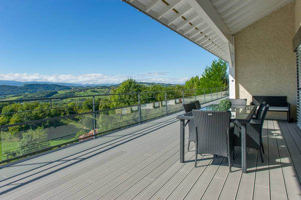 Great view from the balcony. House in Viuz, France with Silver Green UPM ProFi Deck