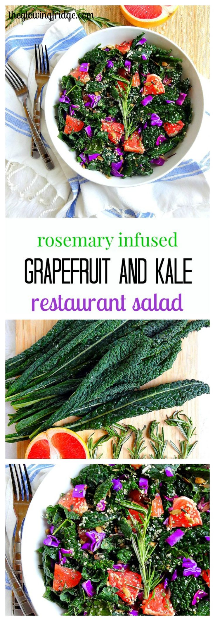 """Rosemary Infused Grapefruit and Kale """"Restaurant"""" Salad - A refreshing citrus plant based vegan salad infused with fresh rosemary, accompanied by juicy grapefruit, softened kale, hemp hearts, sunflower seeds and red cabbage. The rosemary citrus dressing pairs perfectly with this luxurious yet simple anytime salad."""