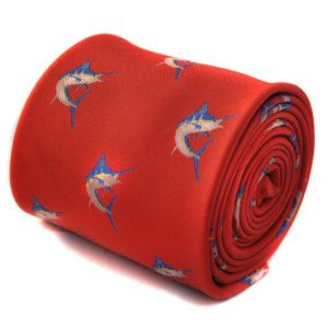 red tie with swordfish embroidered design with signature floral design to the rear by Frederick Thomas FT1552
