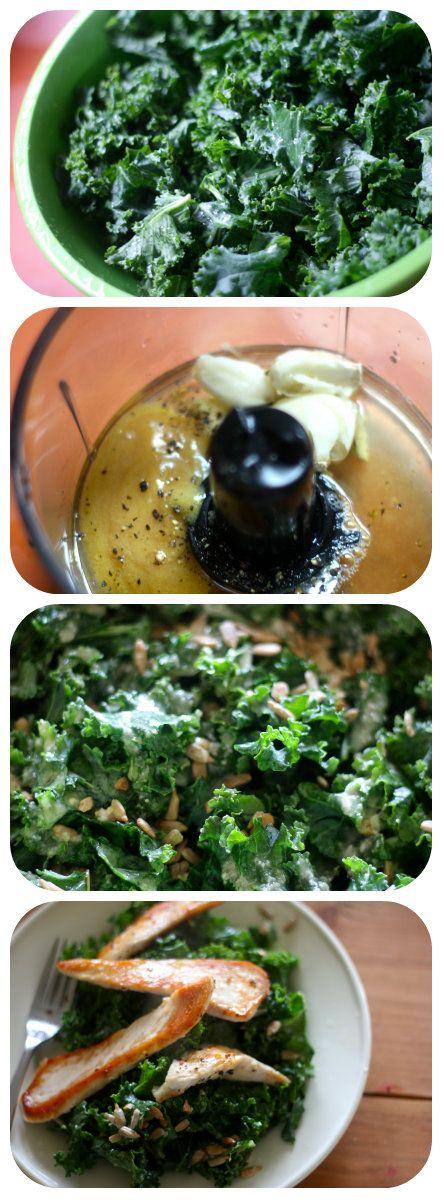 Kale Caesar Salad dairy free, soy free, gluten free.