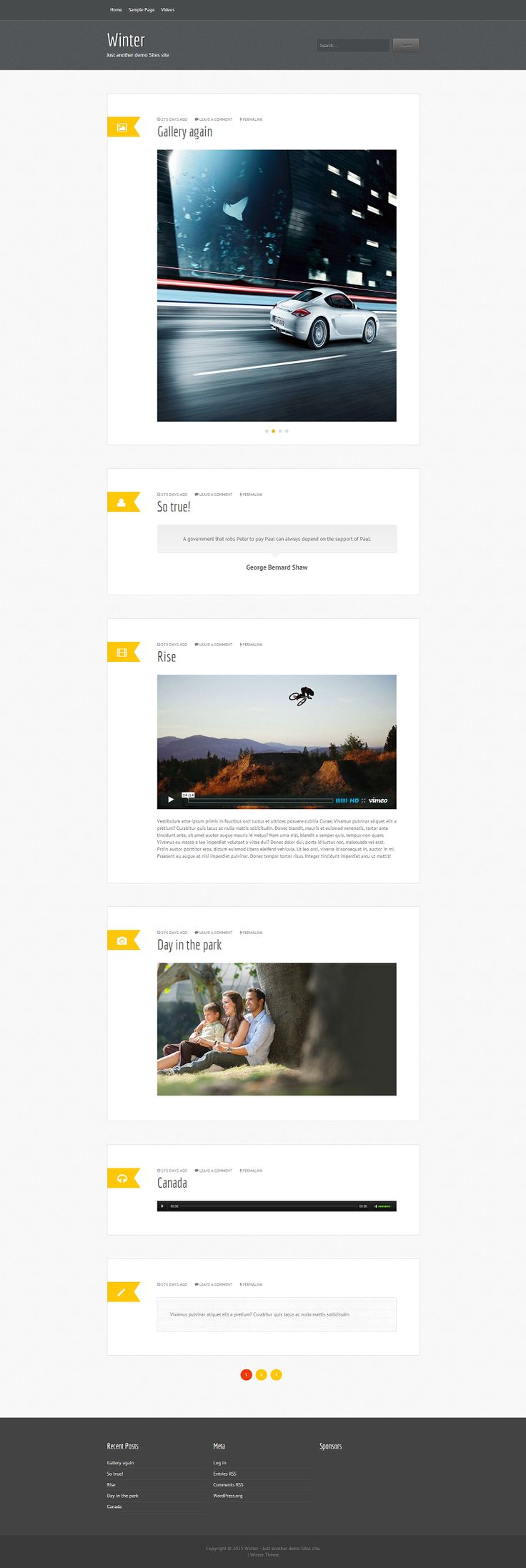 Winter is a single column free premium tumblog WordPress theme. This is a WordPress 3+ ready theme with features like custom menu, featured images, Metabox, widgetized footer, and tumblog feature using the WordPress post formats. Winter theme supports Audio, Video, Image, Link, Chat, Quote, Aside, Gallery and Standard post formats. http://www.fabthemes.com/winter/