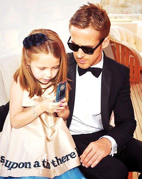Is she getting his digits!? :)This Man, Ryan Gosling, Ryangosling, Precious Children, Future Husband, Future Families, Kids, Little Girls Dresses, Flower Girls