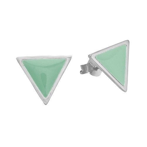 Stud, triangle, mint, sterling silver