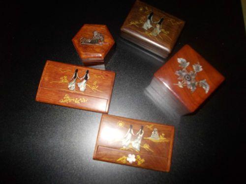 Lotto Scatole in legno Indonesiane