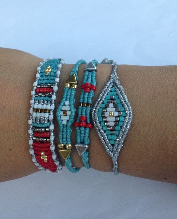 Evil eye beads and macrame bracelet by BKJewelsGR on Etsy