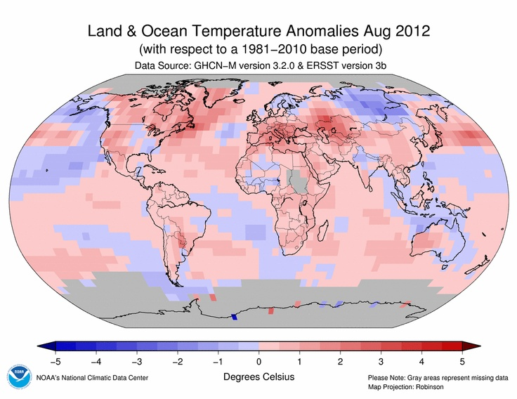 August 2012 Blended Land and Sea Surface Temperature Anomalies in degrees Celsius