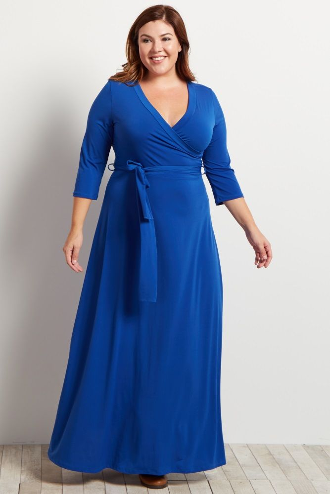 Royal Blue Draped 3/4 Sleeve Plus Maxi Dress in 2019 | Ausstrahlung ...