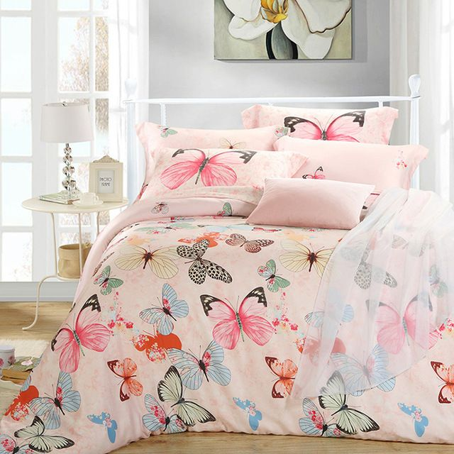 Best Luxury Butterfly Queen King Size Bedding Sets Pink Quilt 400 x 300
