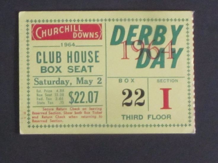 1964 kentucky derby ticket ex northern dancer wins it from $9.99