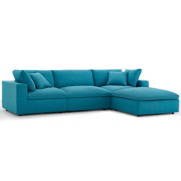 Modway Commix Down Filled Overstuffed 4 Piece Sectional Sofa Set Teal Sectional Sofa Teal Sofa Modern Sofa Sectional