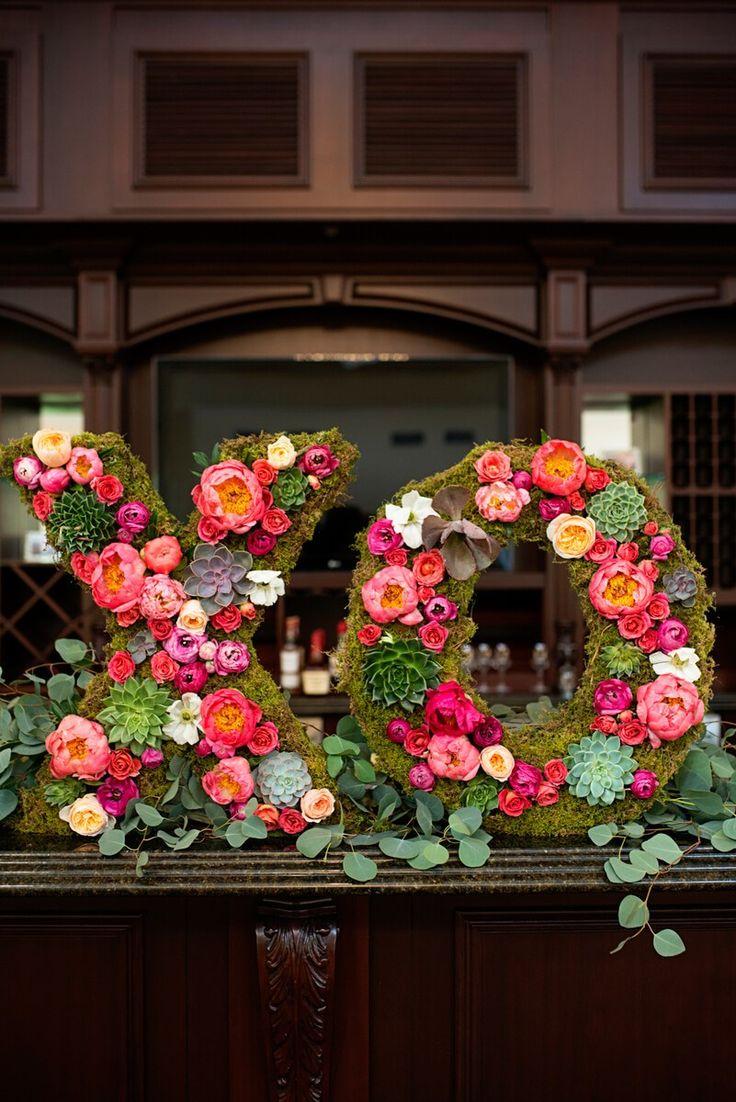 XO floral decor - from a Romantic Vineyard Virginia Wedding