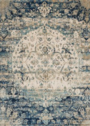 RugStudio presents Loloi Anastasia Af-06 Blue - Ivory Machine Woven, Best Quality Area Rug