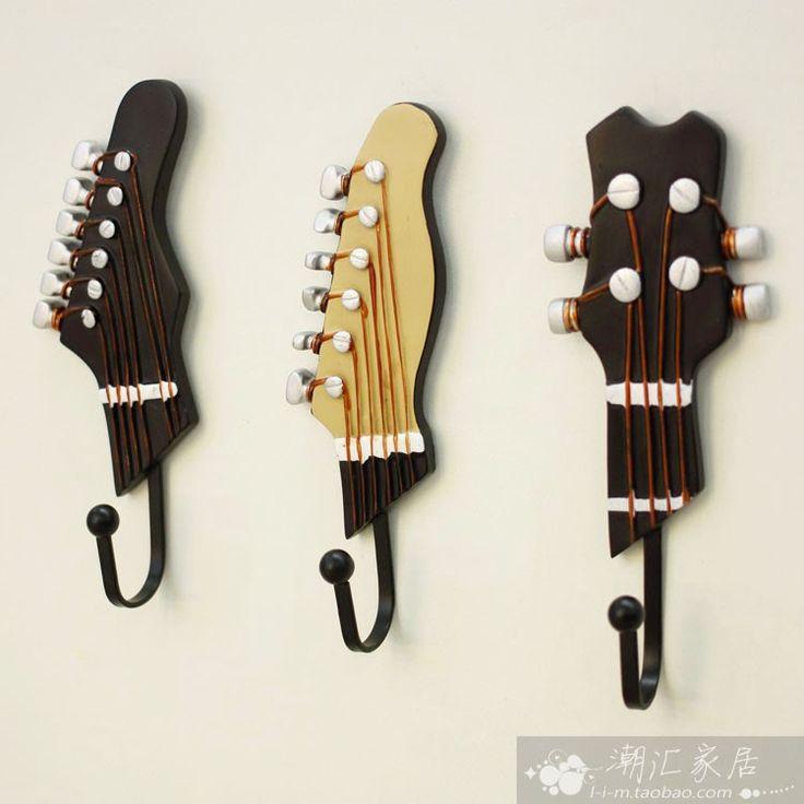 creative guitar decorative coat hooks wall hooks home decor mural d co pinterest. Black Bedroom Furniture Sets. Home Design Ideas