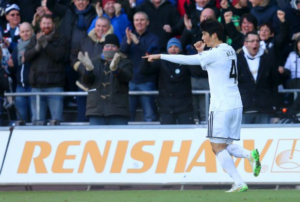 Ki Sung-Yueng equalised for Swansea City against Manchester United.