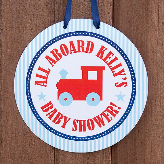 Toy Train Baby Shower Welcome Door Sign  by TangerinePaperShoppe, $8.00 Train Baby Shower Decorations in Red, Navy Blue & Aqua