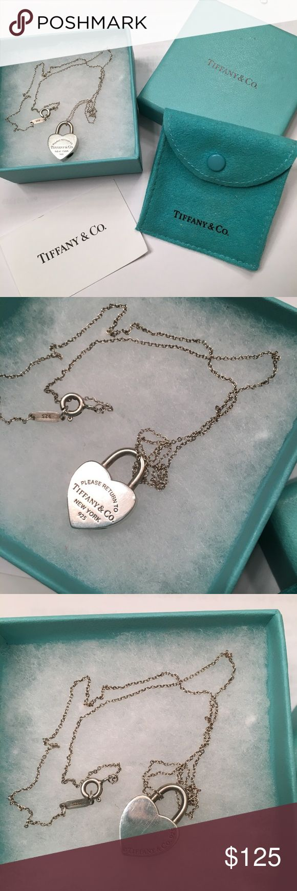 Tiffany heart necklace Tiffany & Co. heart necklace.  Please see pics. Used condition. There are some scratches on the front and back of the heart pendant.  Still looks lovely on❤️. 16 inch Tiffany chain included Tiffany & Co. Jewelry Necklaces