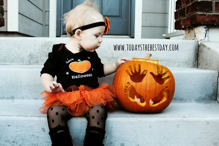 So doing this with our daughter. baby first halloween and pumpkin