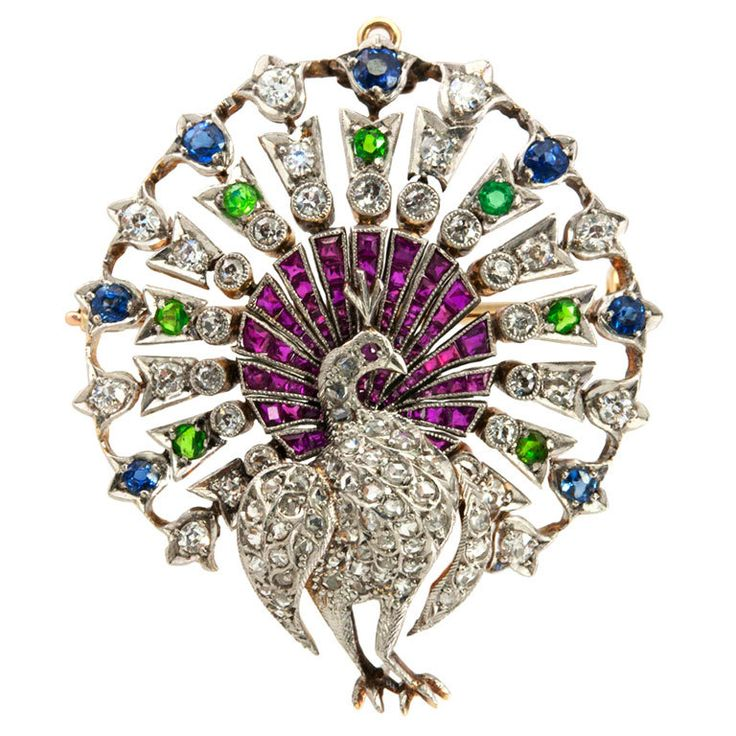 Peacock Brooch   From a unique collection of vintage brooches at https://www.1stdibs.com/jewelry/brooches/brooches/