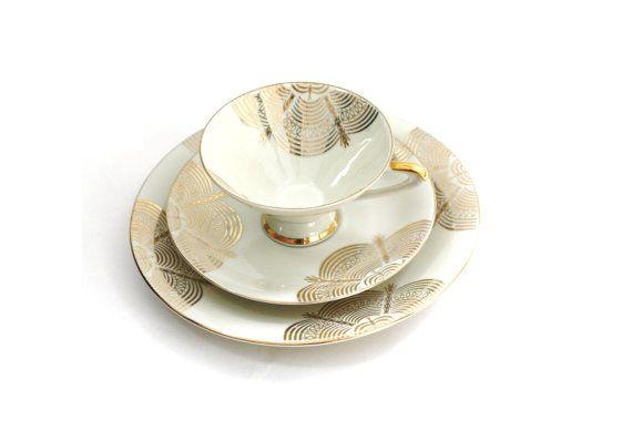 Vintage 1940s-1950s German Tea Cup  Saucer Set / Gold Modern Tea Cup Saucer Set on Etsy, $16.69